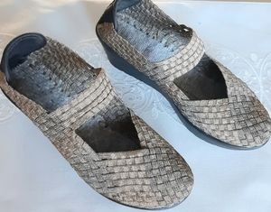 Steve Madden Metalic Woven Wedges Shoes